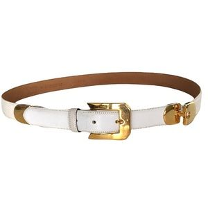 Cale White Leather Gold Hardware Belt